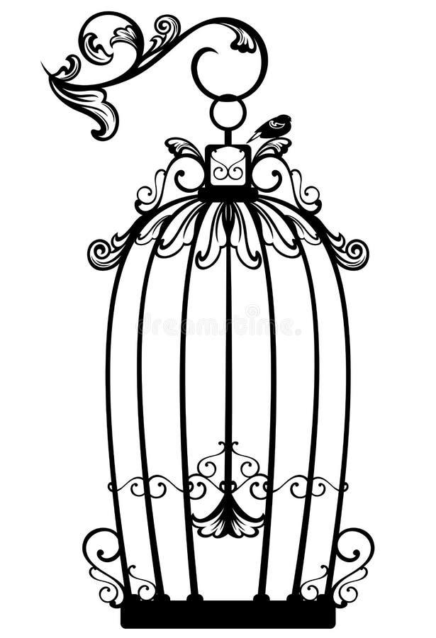 Vector antiguo de la jaula de pájaros stock de ilustración