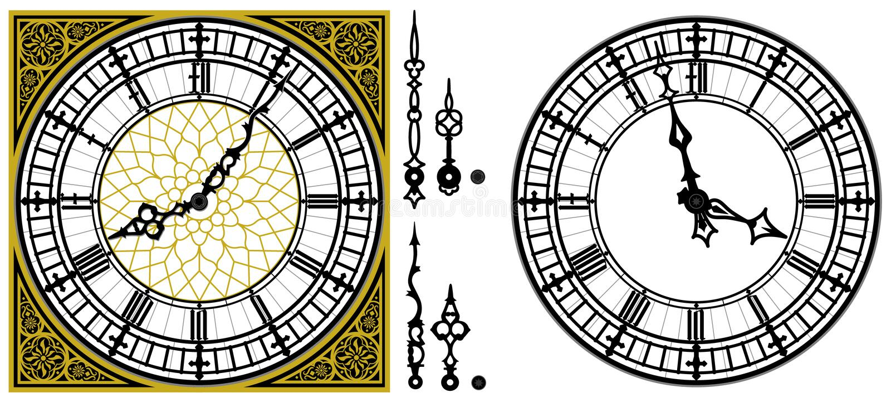 Vector antike alte Uhr mit der quadratischen goldenen römischen Verzierung lizenzfreie abbildung