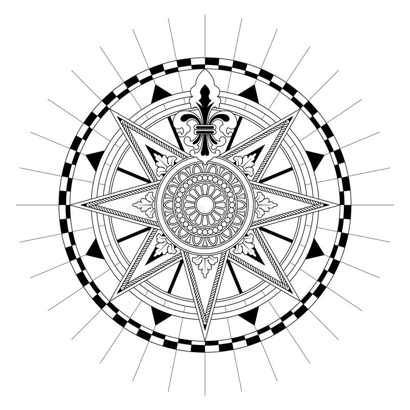 Vector Antique Compass Rose Stock Vector - Illustration of ...