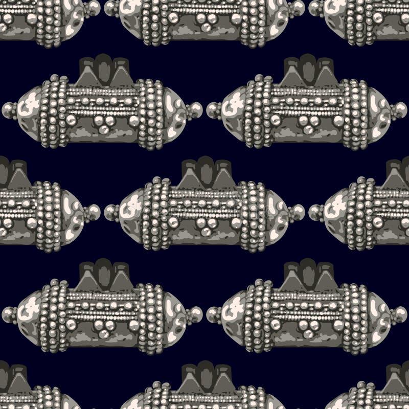 Vector Antique Jewelry Pattern Collane d'argento - Modello senza saldatura illustrazione di stock
