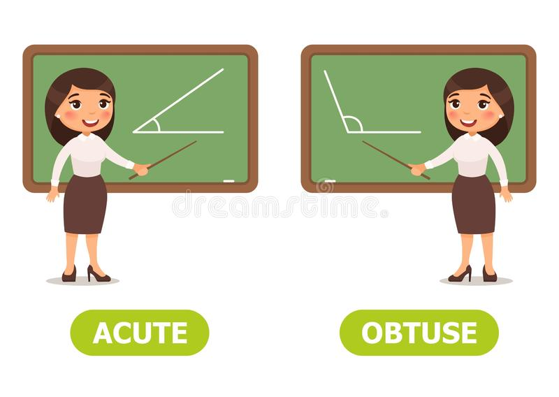 Vector antonyms and opposites. ACUTE and OBTUSE. Card for teaching aid, for a foreign language learning royalty free illustration