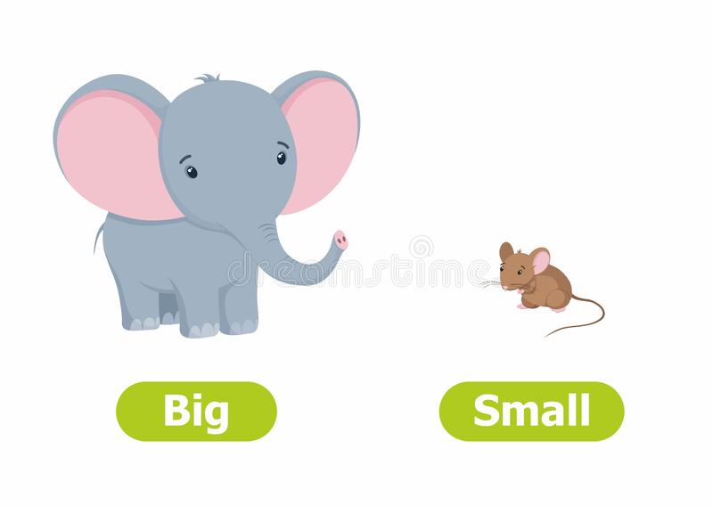 Vector antonyms and opposites.Cartoon characters illustration on white background. Vector antonyms and opposites. Cartoon characters illustration on white stock illustration