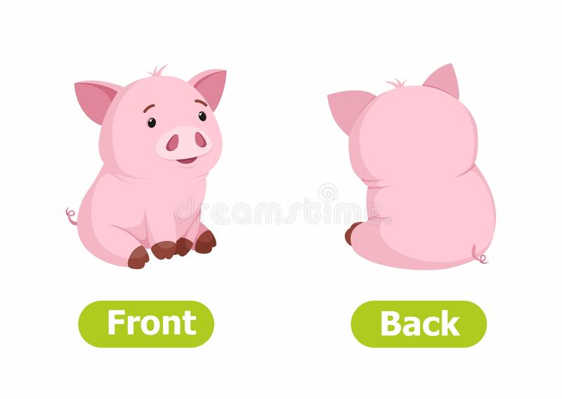 Vector antonyms and opposites. Cartoon characters illustration on white background. vector illustration