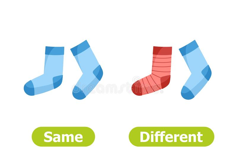 Vector antonyms and opposites. Same and Different. vector illustration