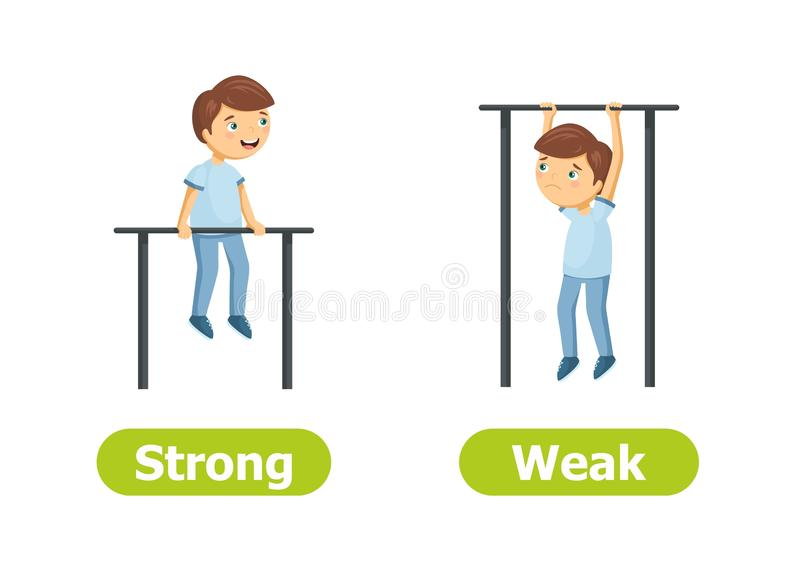 Vector antonyms and opposites. Strong and Weak vector illustration