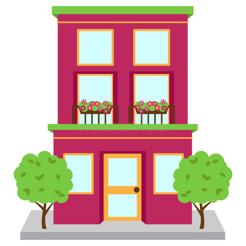Apartment Clip Art: Vector Apartment Building On Street Stock Vector