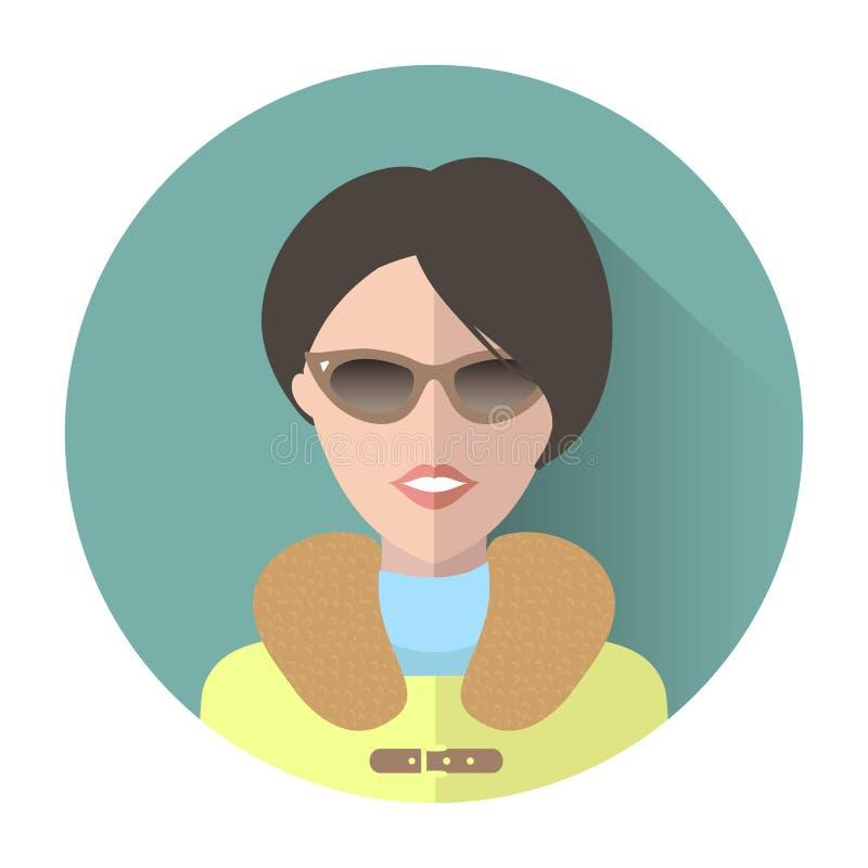 Vector APP-Ikone der Frau in der Sonnenbrille mit langem Schatteneffekt in der modischen flachen Art stock abbildung