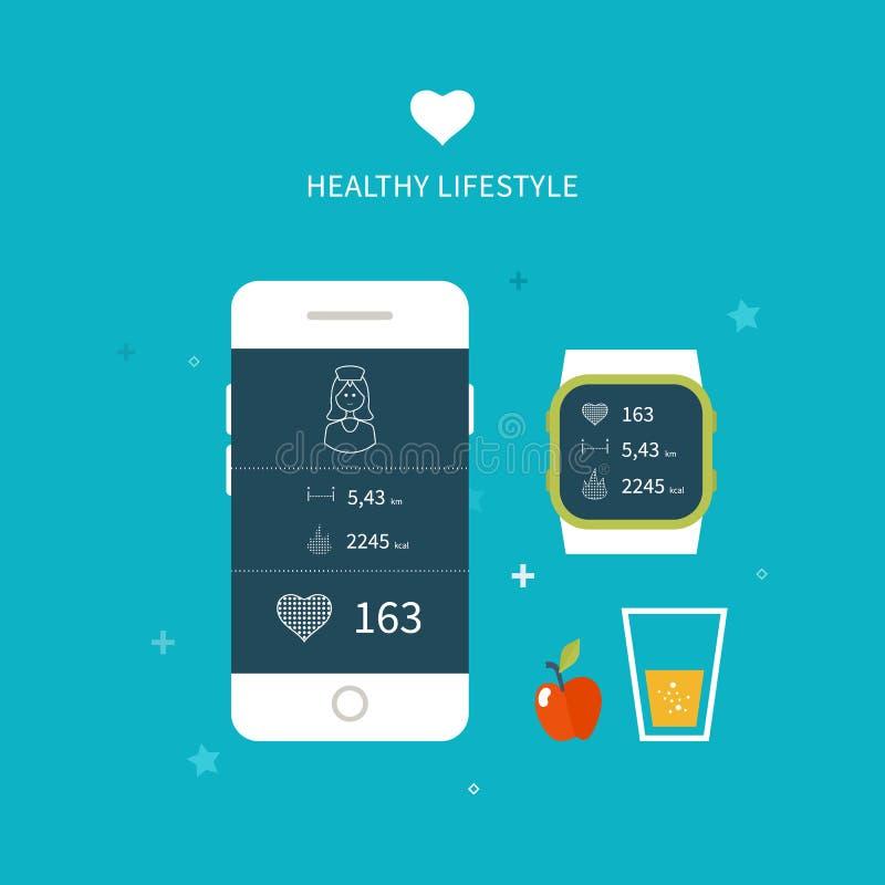 Vector app running na tela do telefone celular ilustração stock