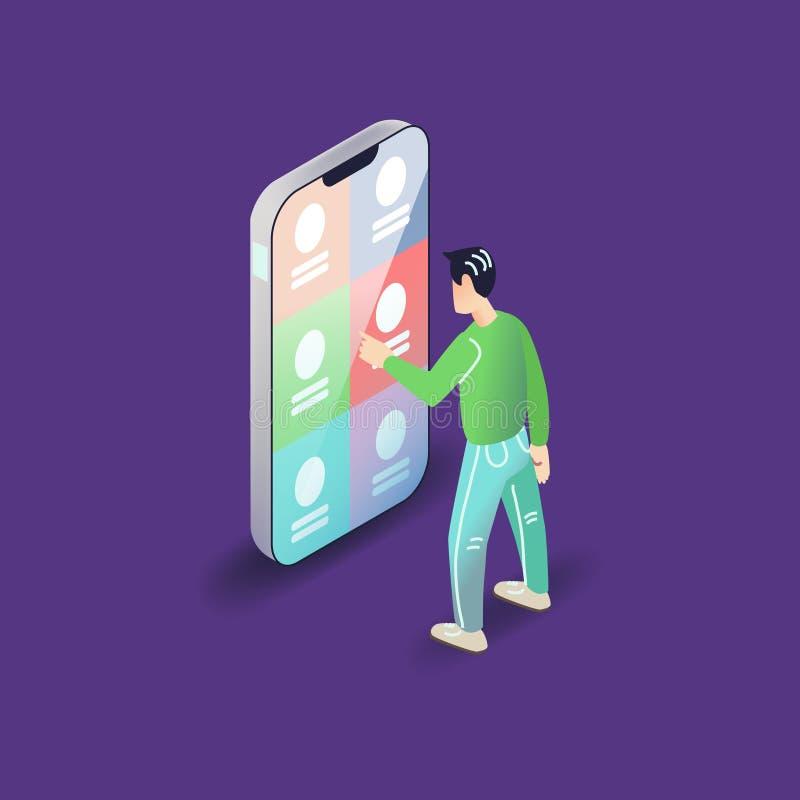Vector app user illustration. Flat art with smartphone mobile application. vector illustration