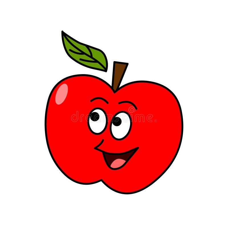 Cartoon apple vector.Cartoon fruit illustration vector illustration