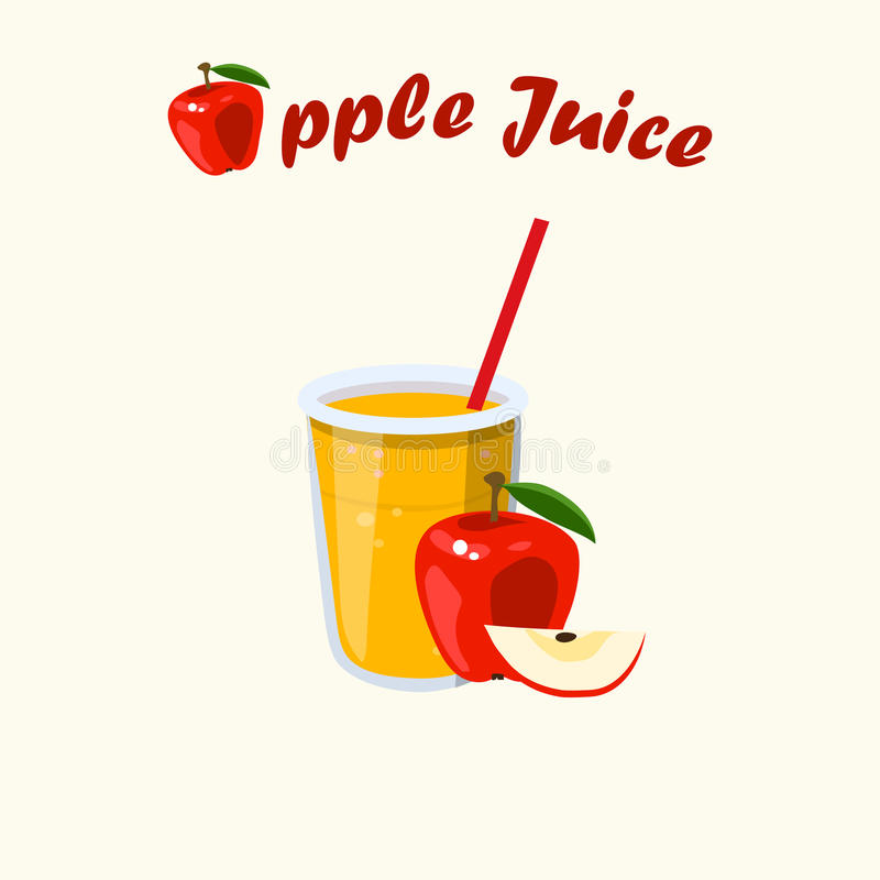 Vector apple juice. Very high quality original trendy vector illustration of apple juice with whole and cut sweet apple royalty free illustration