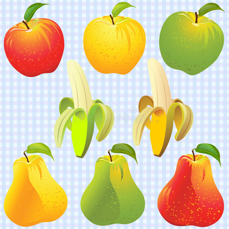 vector Apple, pear, banana of different colors stock illustration
