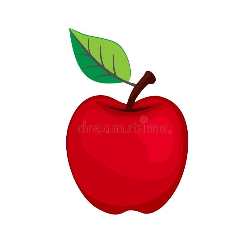 Vector Apple vermelho com ícone da folha no fundo branco ilustração royalty free