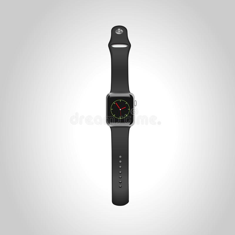 Vector Apple watch sport 42mm black with black sport band with the display. Eps10. stock images