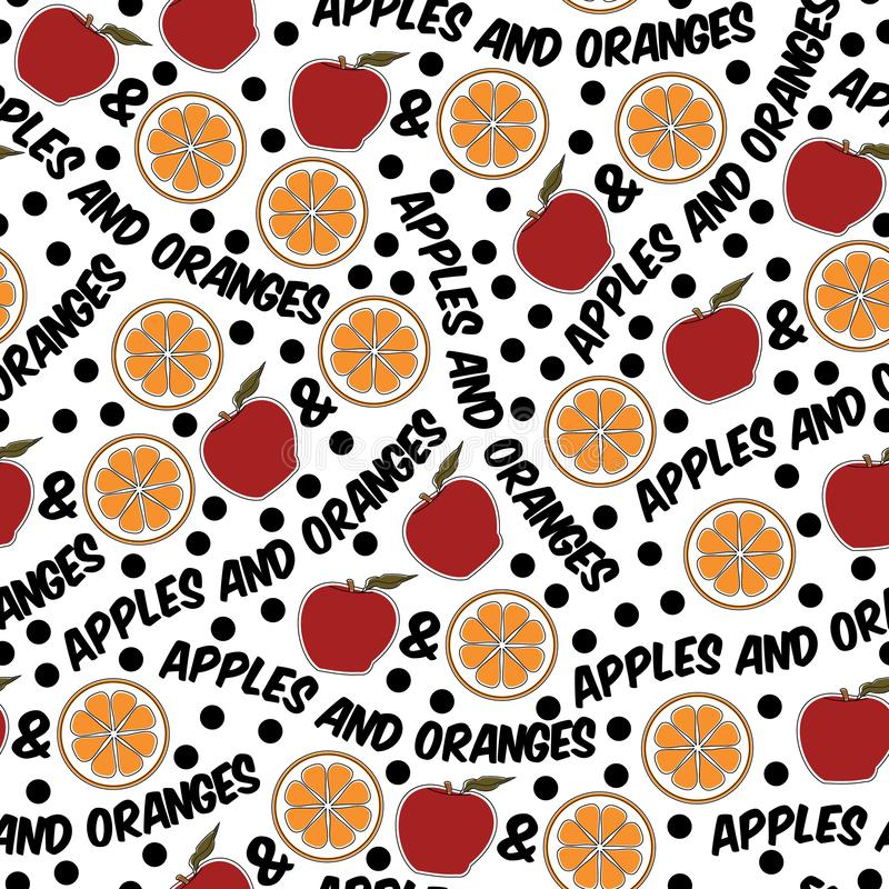 Vector Apples and Oranges in Red and Orange on White Seamless Repeat Pattern. For Surface Pattern Design royalty free illustration