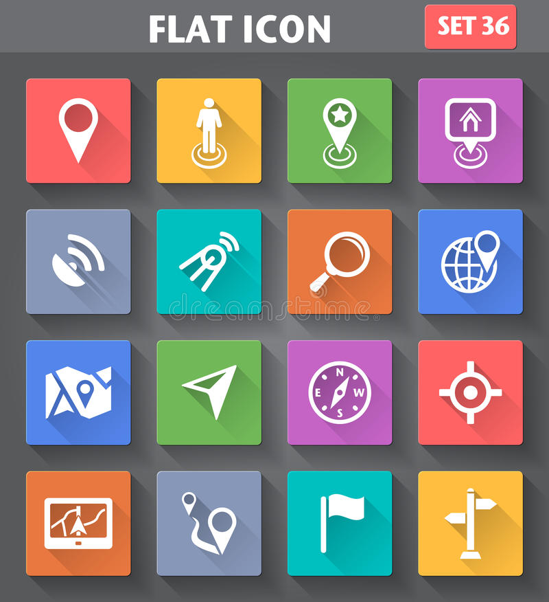 Vector application Location, Navigation and Map Icons set in fla. T style with long shadows stock illustration