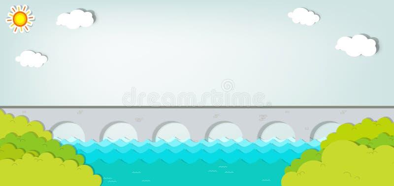 Vector applique. Landscape with bridge. Vector applique. Summer landscape with bridge stock illustration