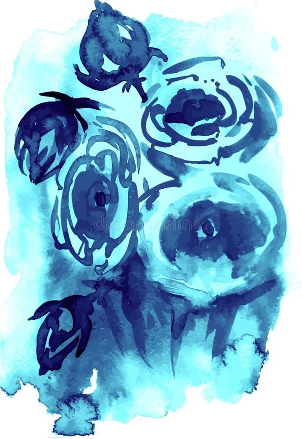 Vector Aquarell- und Tintenillustration von Blütenblumen Sumi-e, Usündenmalerei vektor abbildung