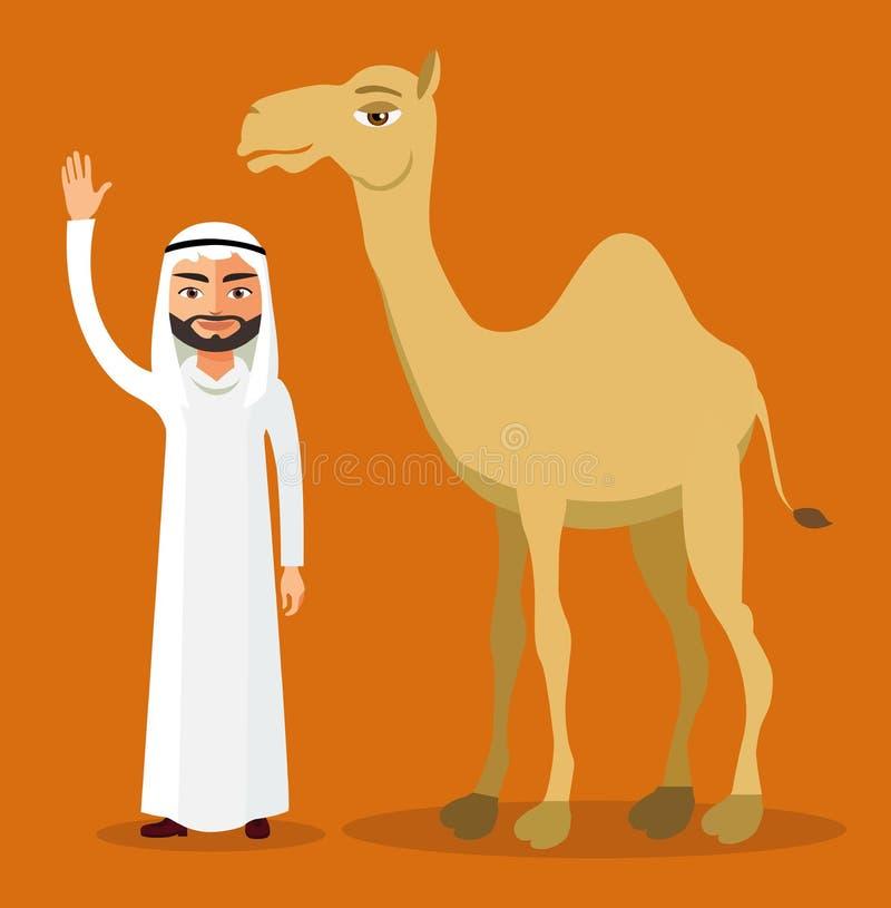 Vector - Arab bedouin man waving his hand and camel in desert dunes. Eps 10 royalty free illustration