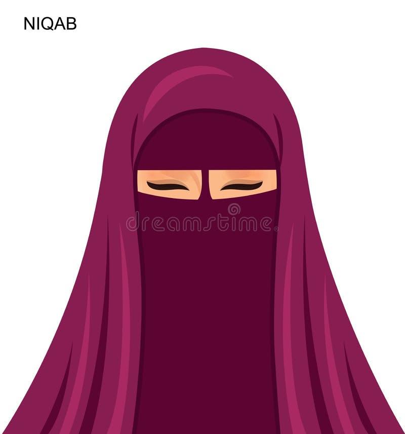 Vector - Arabische niqabstijl, mooie Arabische moslimvrouw - Illu stock illustratie