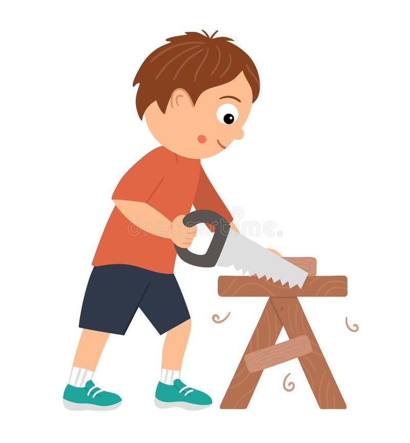 Vector-Arbeitsjunge Flat lustige Kinderfigur Sägen Holz mit einer Säge auf der Arbeitsbank Kunsthandwerksmuster vektor abbildung