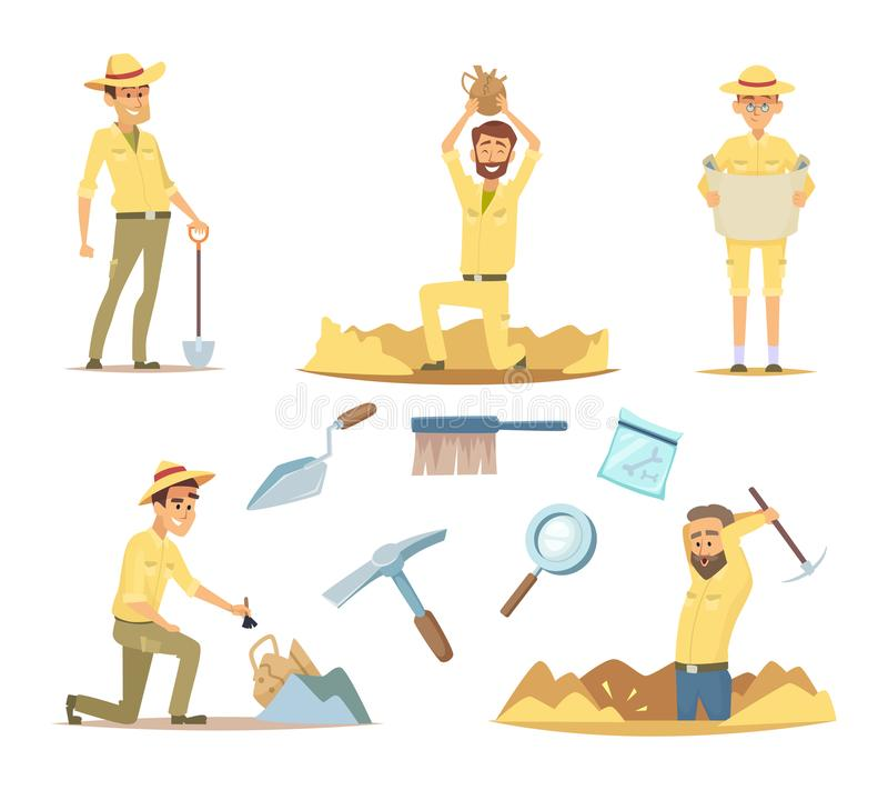 Vector archaeologist characters at work. Cartoon mascots in action poses royalty free illustration