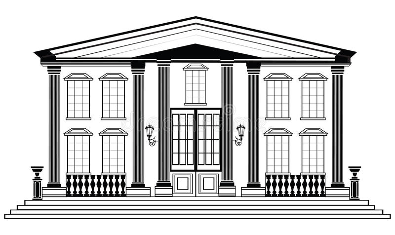 vector architectural facade  wire frame blueprint drawing