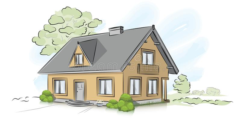 Vector architectural hand drawing traditional house vector illustration