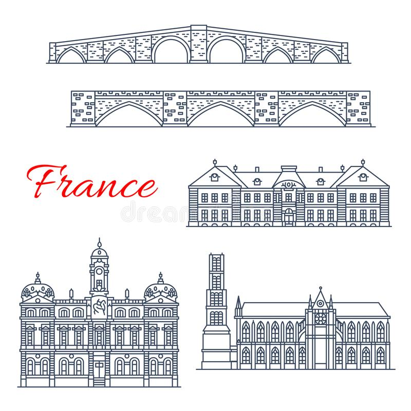 Vector architecture icons of France Lyon, Limoges royalty free illustration