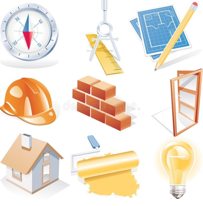 Vector architectuur gedetailleerde pictogramreeks vector illustratie