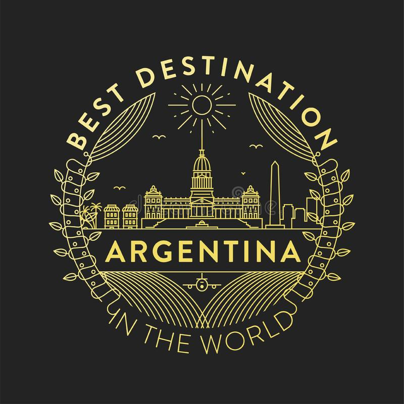 Vector Argentina City Badge, Linear Style stock illustration