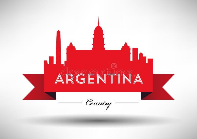 Vector Argentina Skyline Design stock illustration