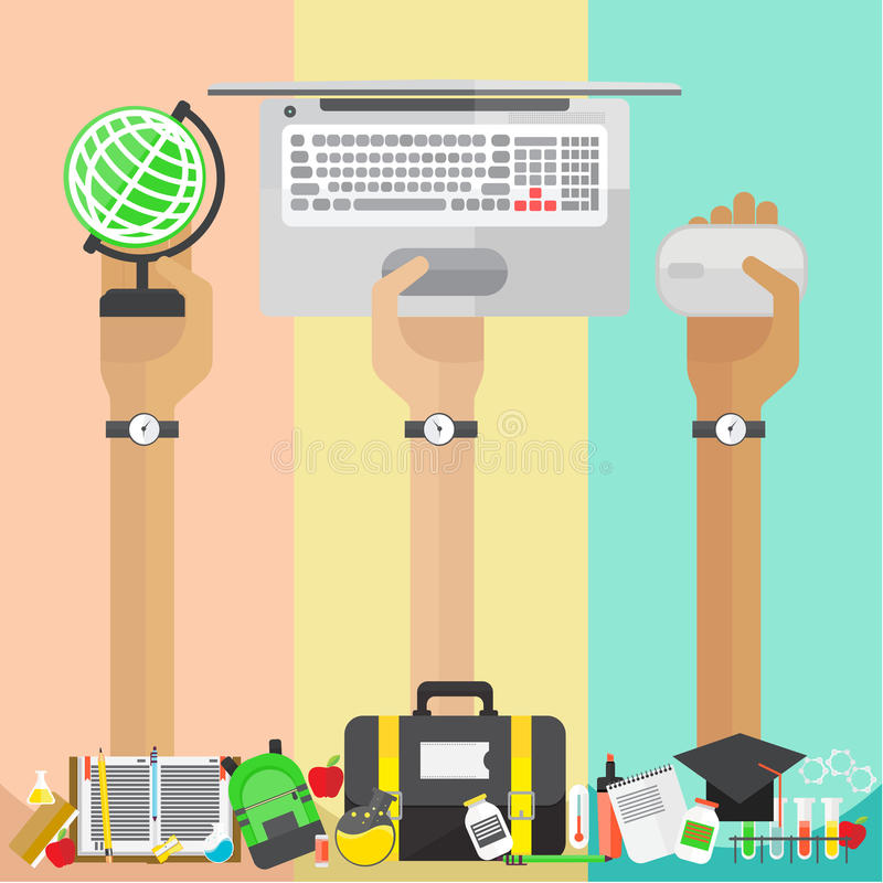 Vector arms and hand Education set Notebook Graduate royalty free illustration