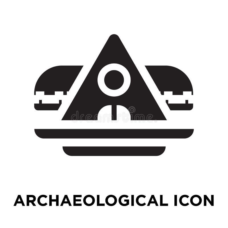 Vector arqueológico del icono aislado en el fondo blanco, logotipo co stock de ilustración