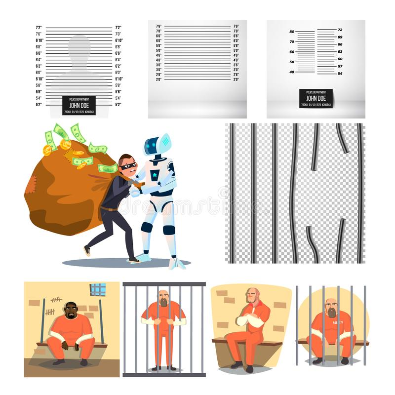 Vector arrestado del sistema del criminal y de la prisión del carácter ilustración del vector