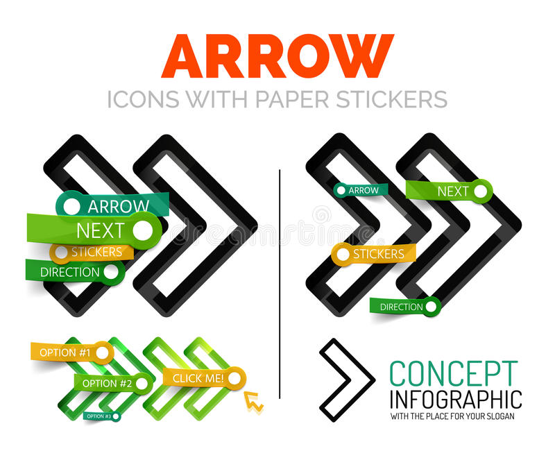 Vector arrow linear style icons, 3d cut out relief with sticker - buttons royalty free illustration