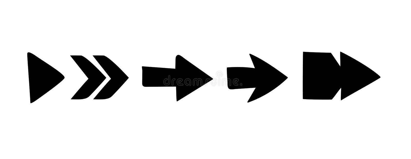Vector arrow Set of black stock illustration