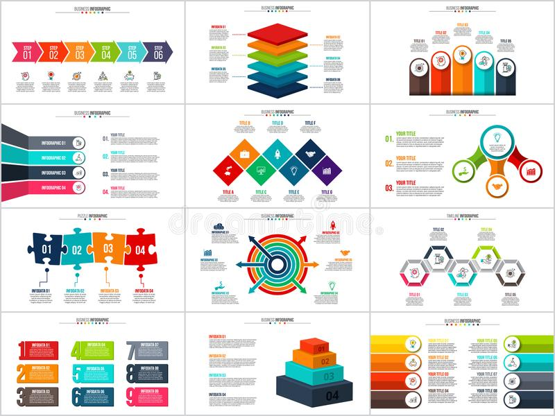 Vector arrows infographic, diagram chart, graph presentation. Business report with 3, 4, 5, 6, 7, 8 9 and 10 options parts steps processes Squares circles vector illustration