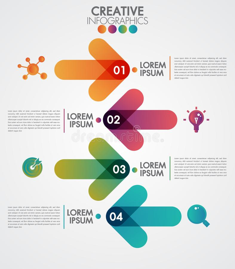 Vector arrows 4 steps timeline infographics template step by step, diagram chart, graph presentation. Business progress concept. With 4 options, parts, steps stock illustration