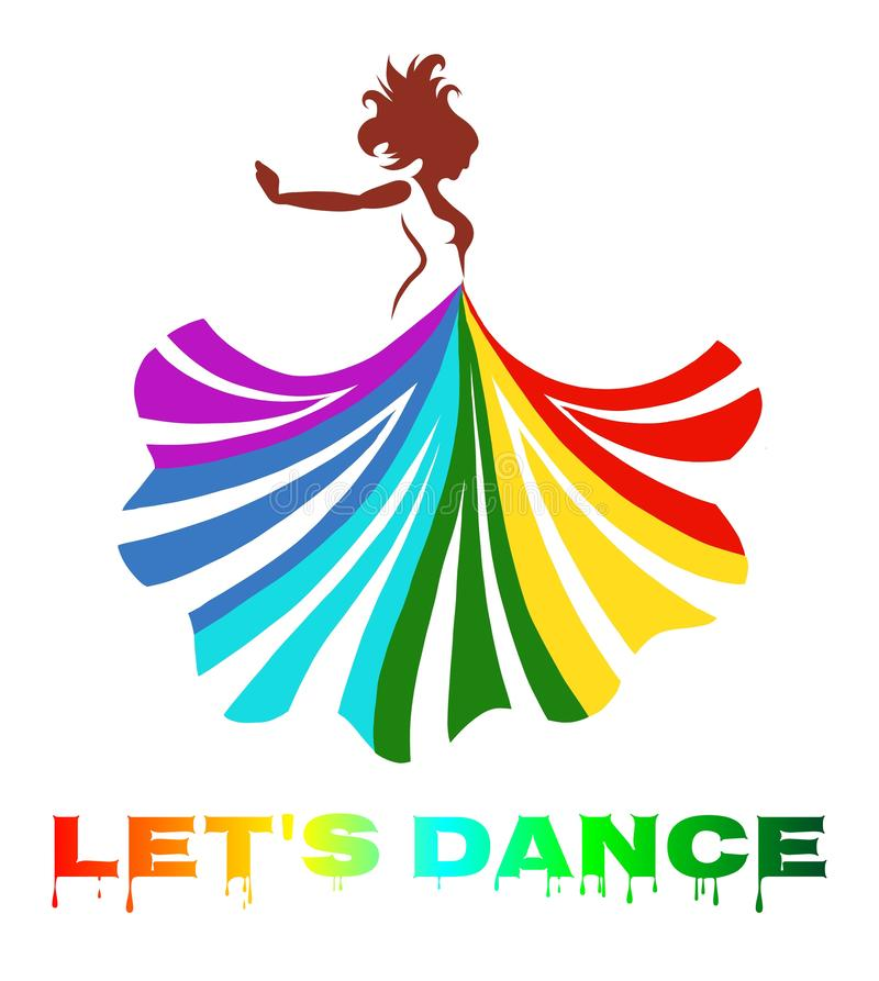 vector art of a beautiful dancing lady with colourful dress stock illustration