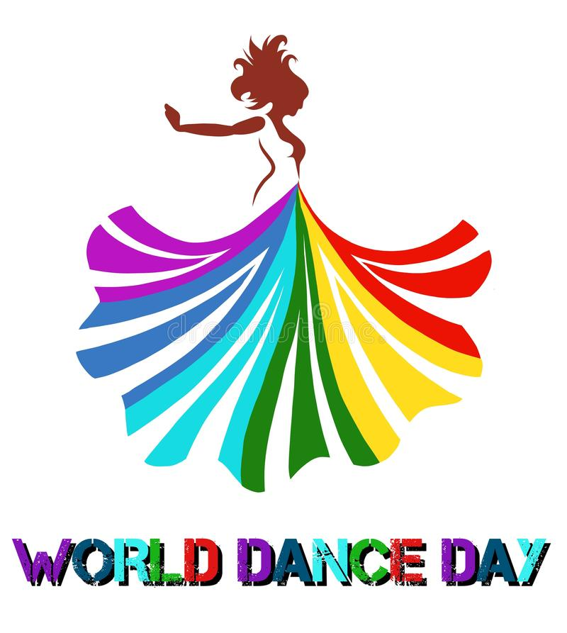 vector art of a beautiful woman dancing with colorful dress vector illustration