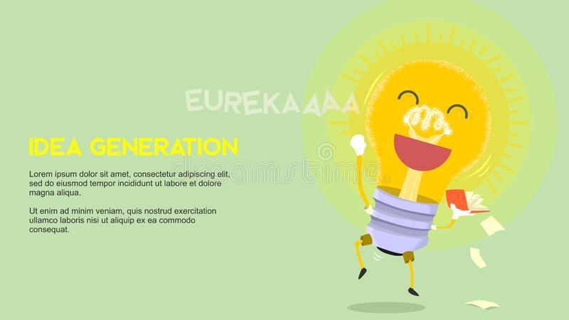 Idea generation metaphor cartoon light glowing bulb with happy face holding a book in victory jump position of eureka moment inven. Vector art is created using vector illustration