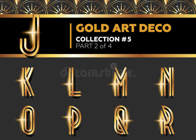 Vector Art Deco 3D Font. Shining Gold Retro Alphabet. Gatsby Sty royalty free illustration