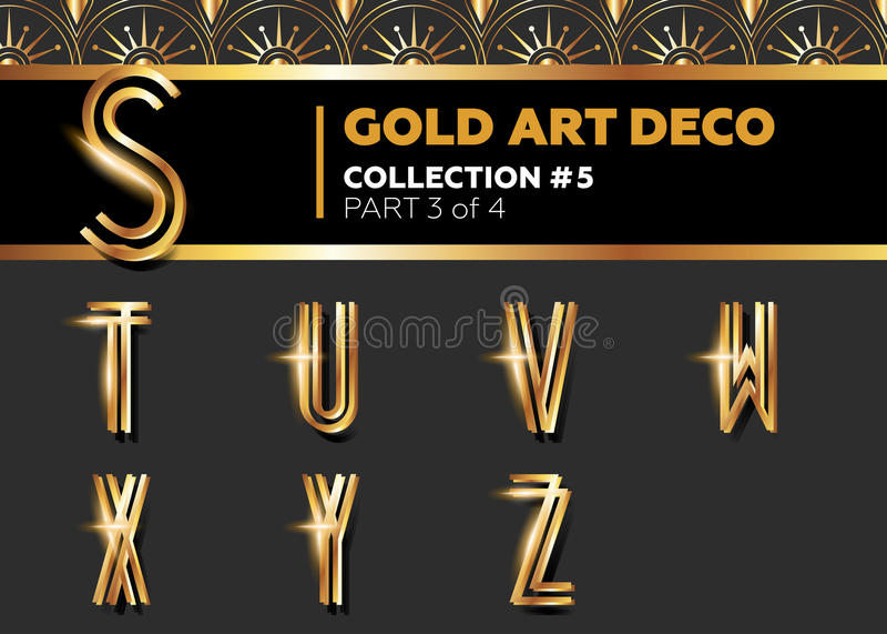 Vector Art Deco 3D Font. Shining Gold Retro Alphabet. stock illustration