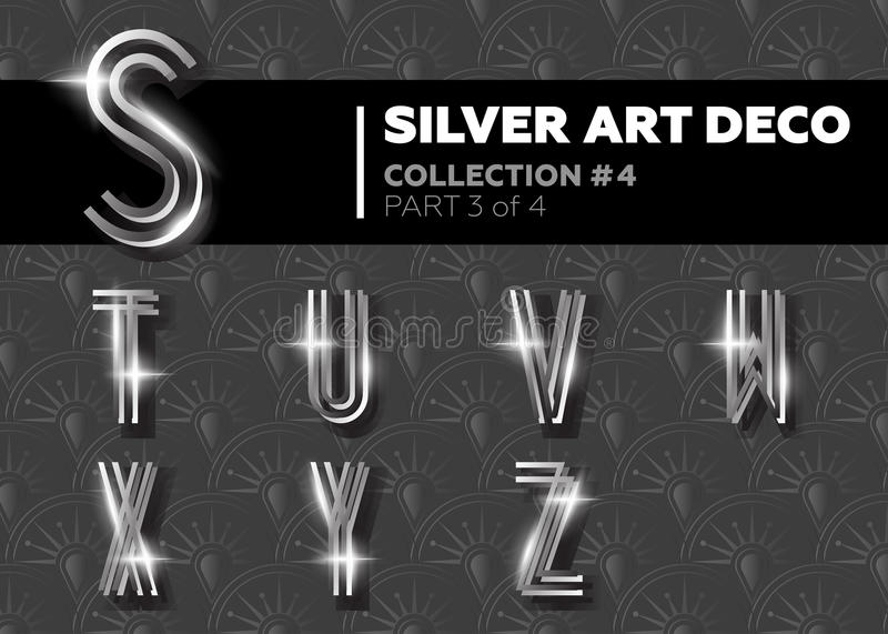 Vector Art Deco Font. Shining Silver Retro Alphabet. Gatsby Style. stock illustration