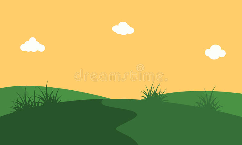 Vector art of hill with orang sky landscape. Backgrounds stock illustration