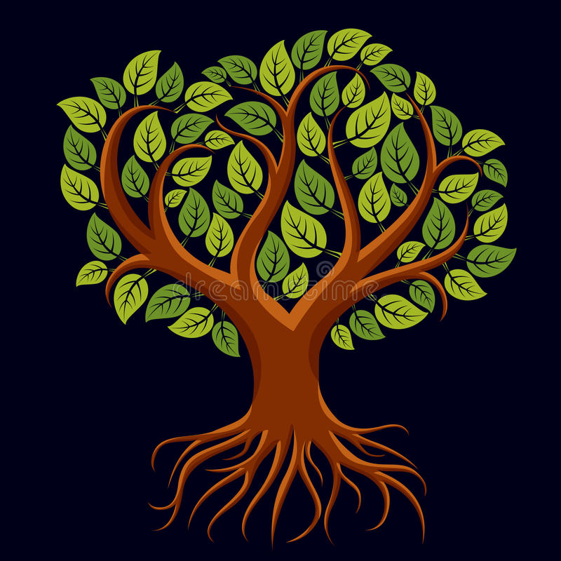 Vector art illustration of branchy tree with strong roots. Tree. Of life symbolic graphic image, environment conservation theme stock illustration