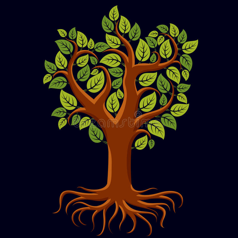 Vector art illustration of branchy tree with strong roots. Tree. Of life symbolic image, ecology conservation theme stock illustration