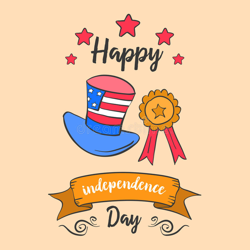 Vector art independence day doodle style. Collection