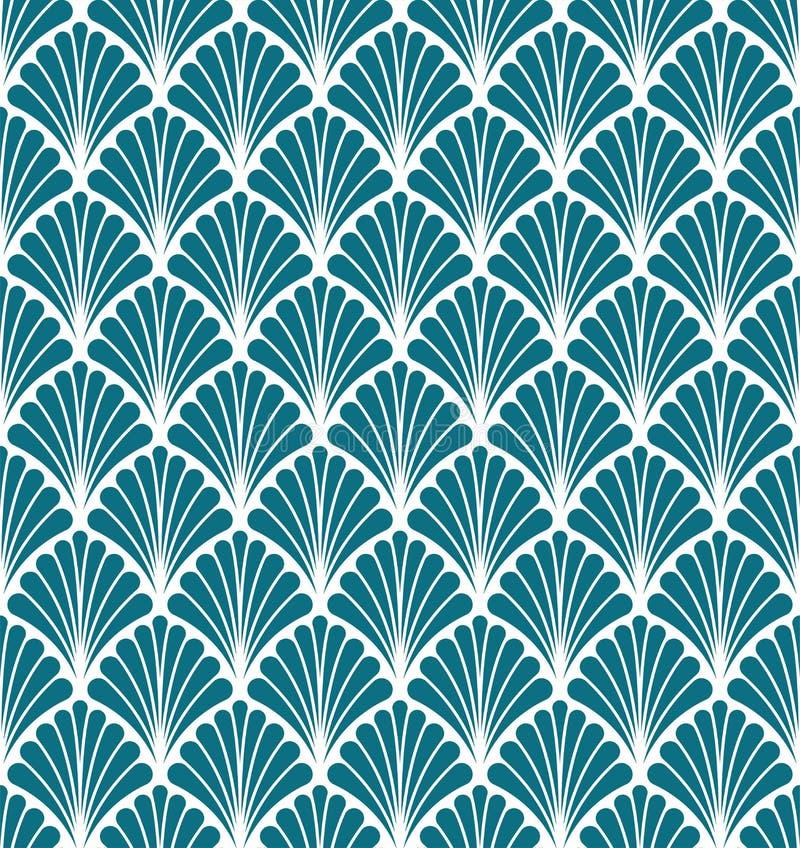 Vector Art Nouveau Seamless Pattern floral Textura decorativa geométrica de las hojas Fondo elegante retro ilustración del vector